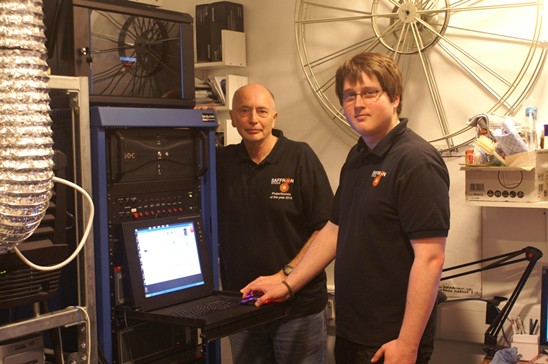 Paul Wilmott (left) and Jason Bond in the projection booth at Saffron Screen