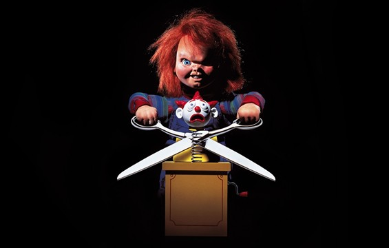 Chucky from Child's Play 2 cutting head off jack-in-a-box clown